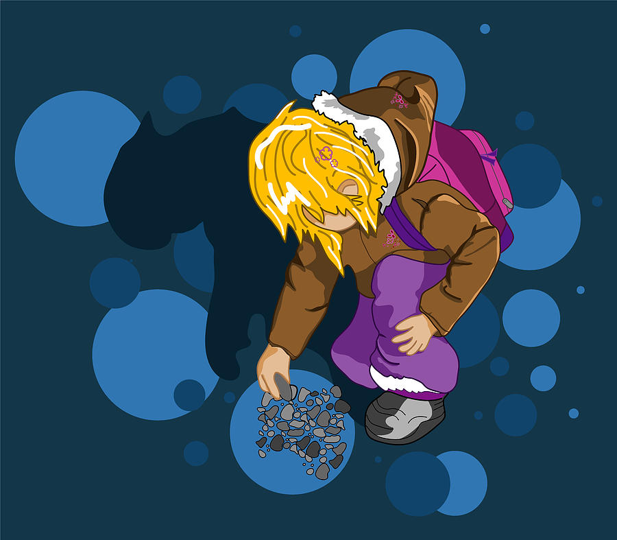 Kid Digital Art - Rock Searching by Mellisa Ward