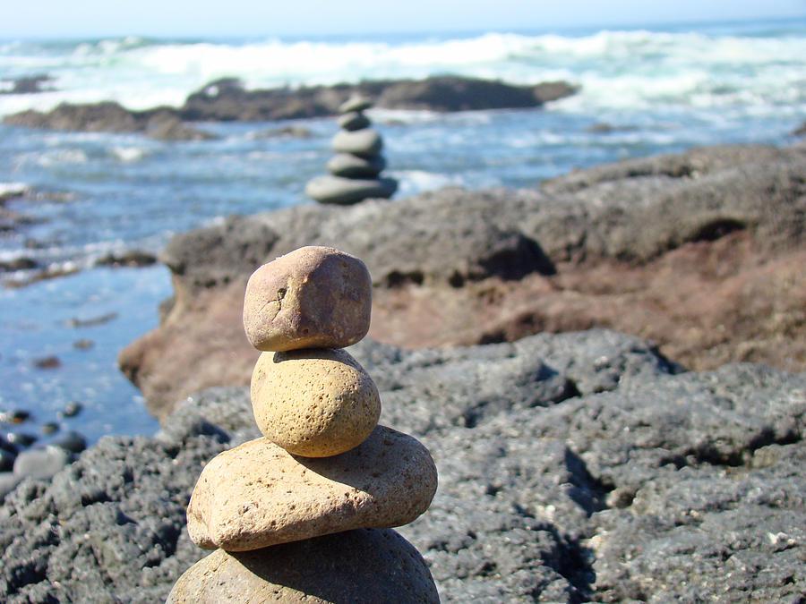 Rock Stacking Art Prints Ocean Coastal Beach Waves Photograph By