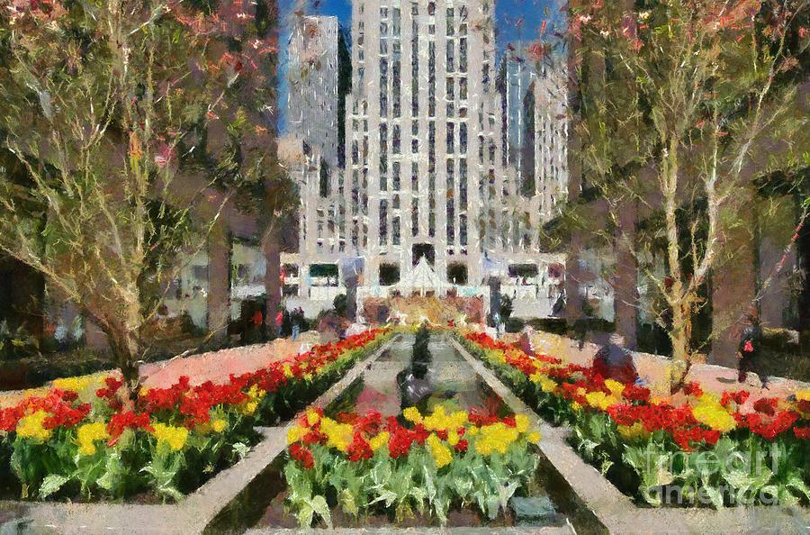 Rockefeller Plaza Painting by George Atsametakis
