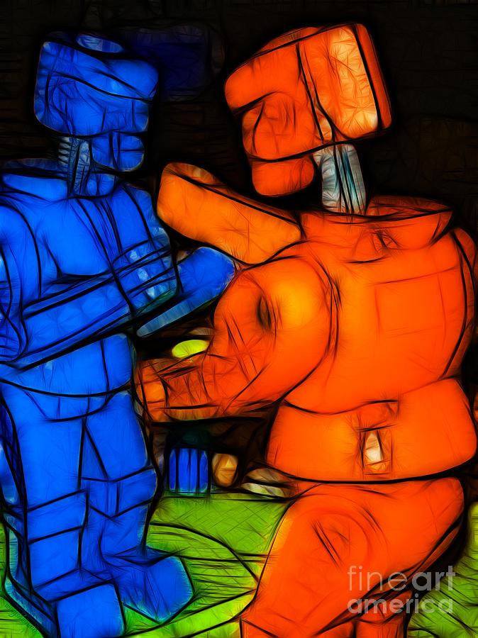 Robot Photograph - Rockem Sockem Robots - Color Sketch Style - Version 3 by Wingsdomain Art and Photography