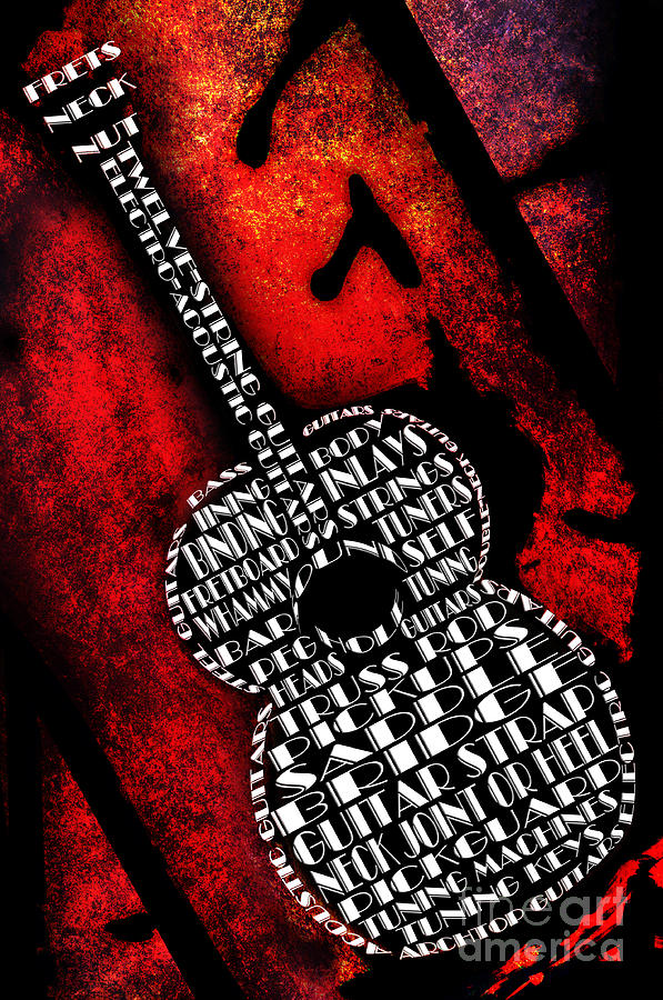 Abstract Digital Art - Rockin Guitar In Red Typography by Andee Design