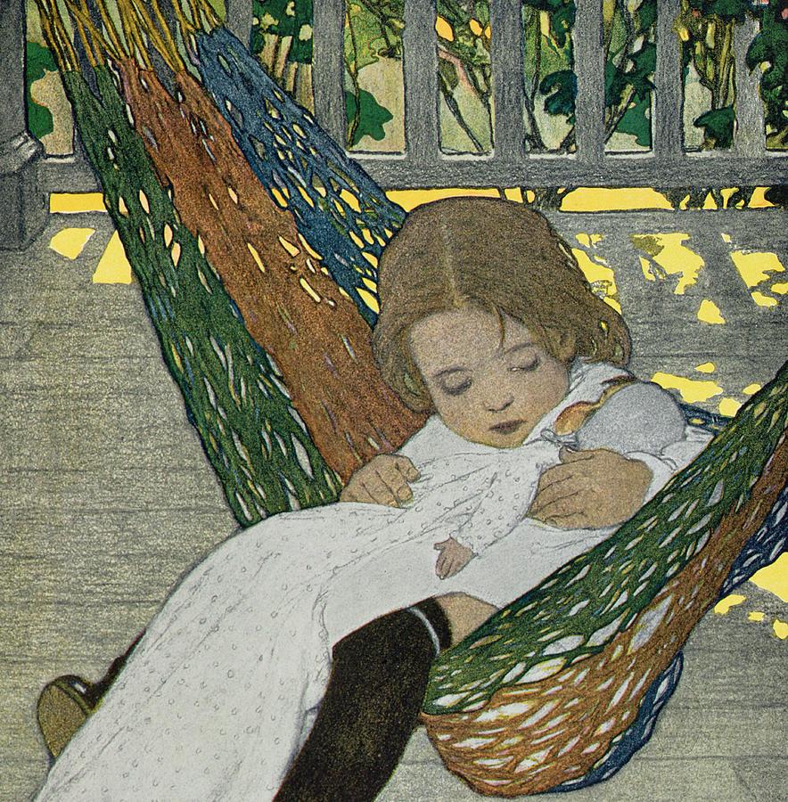 Doll Drawing - Rocking Baby Doll To Sleep by Jessie Willcox Smith