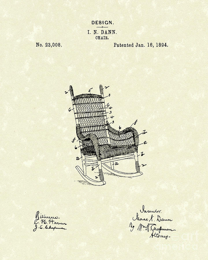 Dann Drawing - Rocking Chair 1894 Patent Art by Prior Art Design