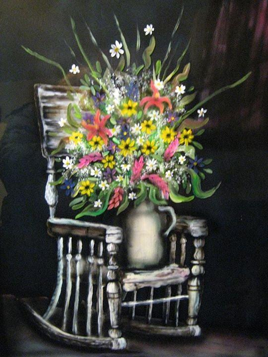 Rocking Chair Painting - Rocking Chair With Flowers by Kendra Sorum