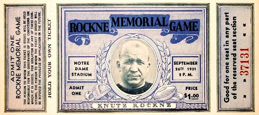 Rockne Memorial Game Photograph