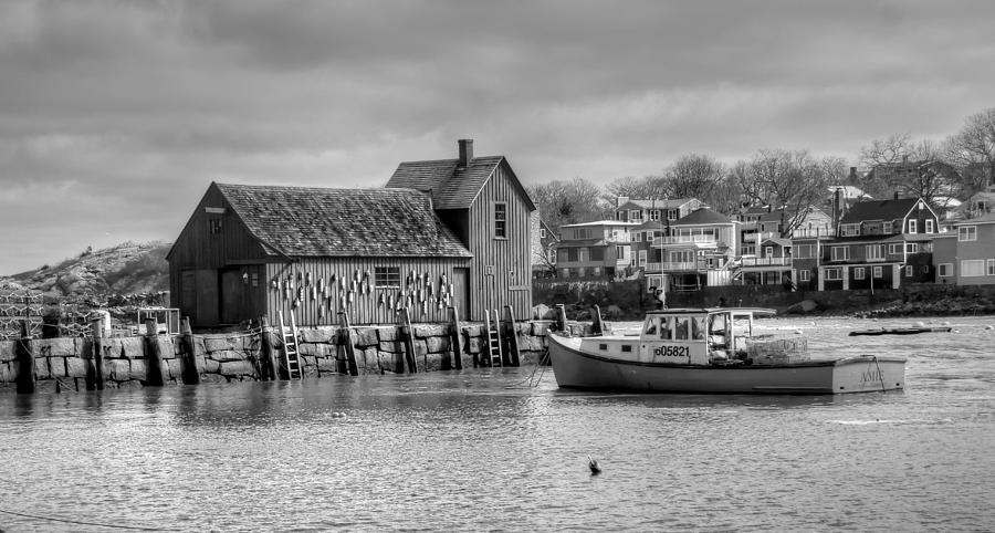 B&w Photograph - Rockport Harbor Motif #1 by Liz Mackney