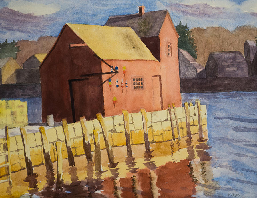 Watercolor Painting - Rockport Motif Number One by Peggy Poppe