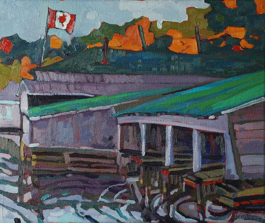 Rockport Painting - Rockport Roofs by Phil Chadwick