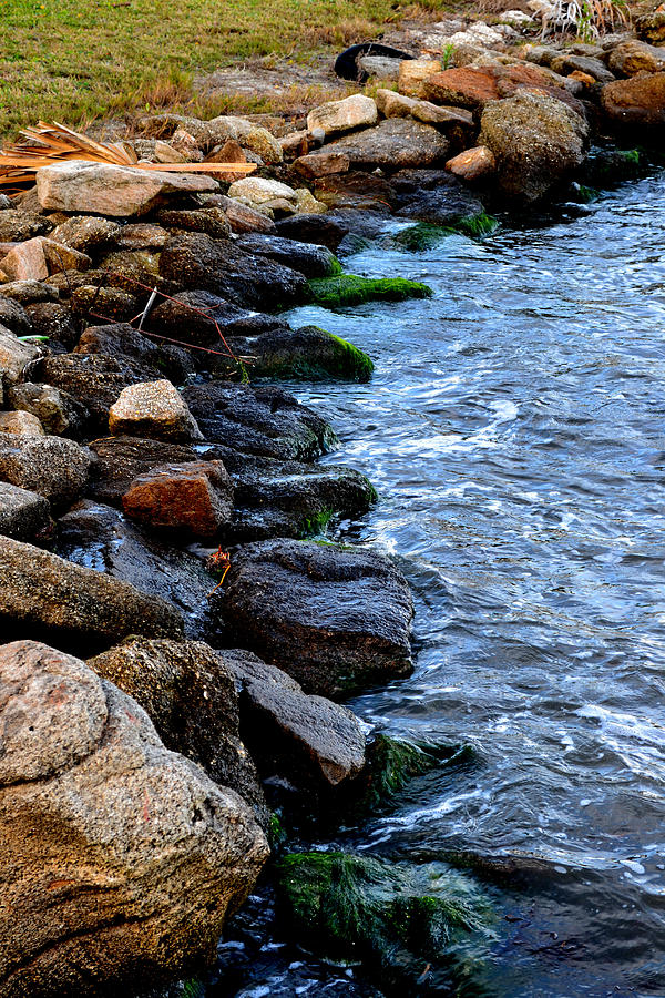 River Digital Art - Rocks Along River by Victoria Clark