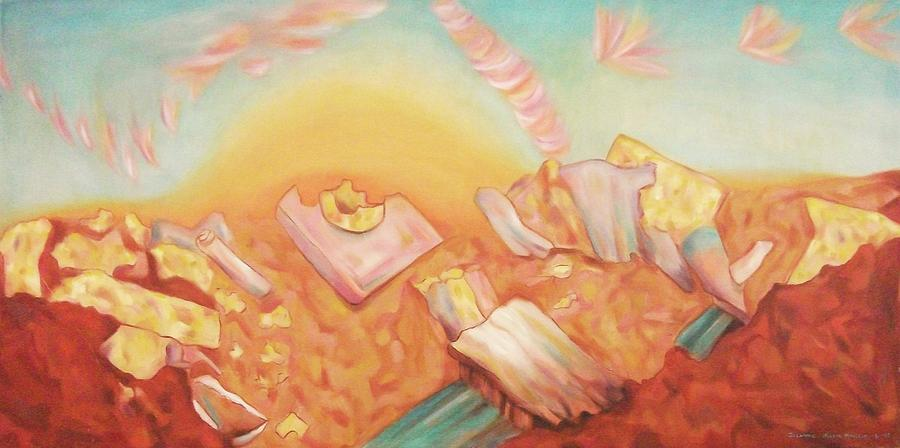 Rocks Painting - Rocks And Sunset In Desert by Suzanne  Marie Leclair