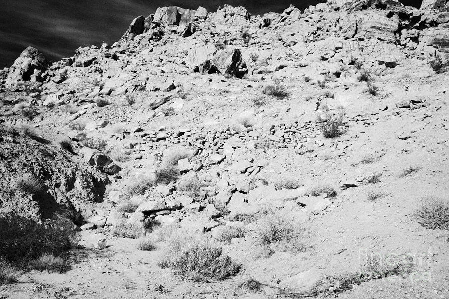 Valley Photograph - Rocks Forming Support For The Old Arrowhead Trail Road Valley Of Fire State Park Nevada Usa by Joe Fox