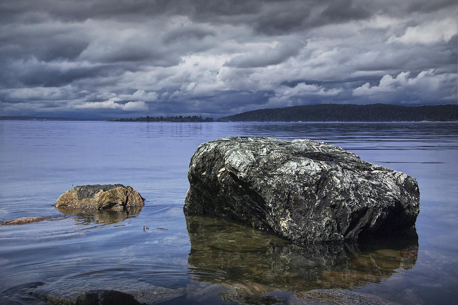Landscape Photograph - Rocks In The Water On A Lake In Acadia National Park by Randall Nyhof