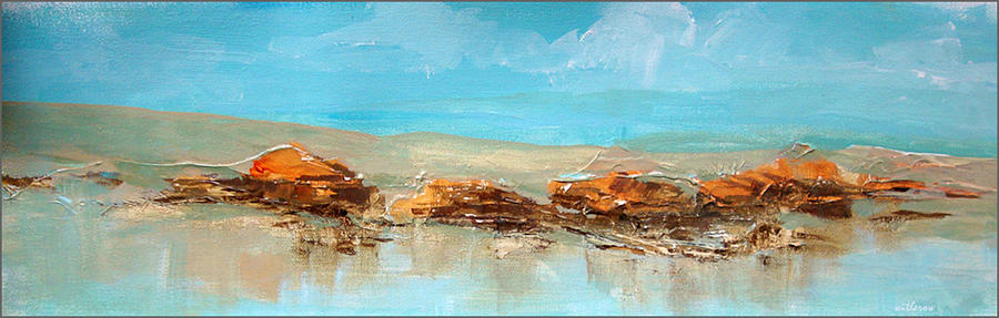 Sea Shore Painting - Rocks On The Beach by Dale  Witherow