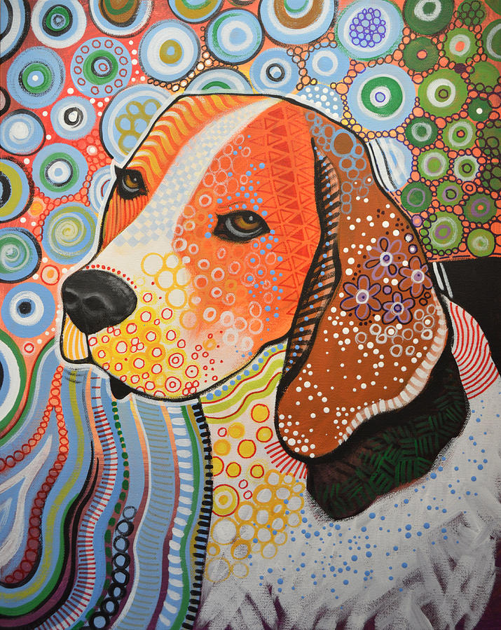 Rocky ... Abstract Dog Art ... Beagle Painting by Amy Giacomelli