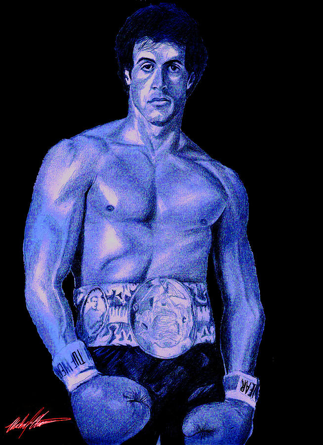 Rocky Drawing - Rocky Blue by Michael Mestas