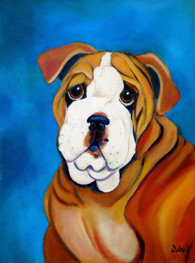 Bulldog Painting - Rocky by Debi Starr