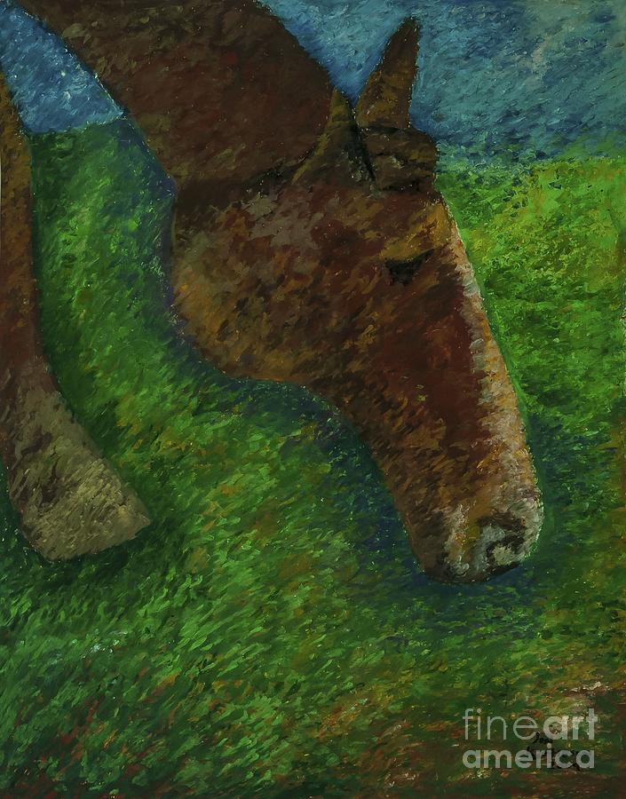 Horse Landscape Pastel - Rocky by Jon Kittleson