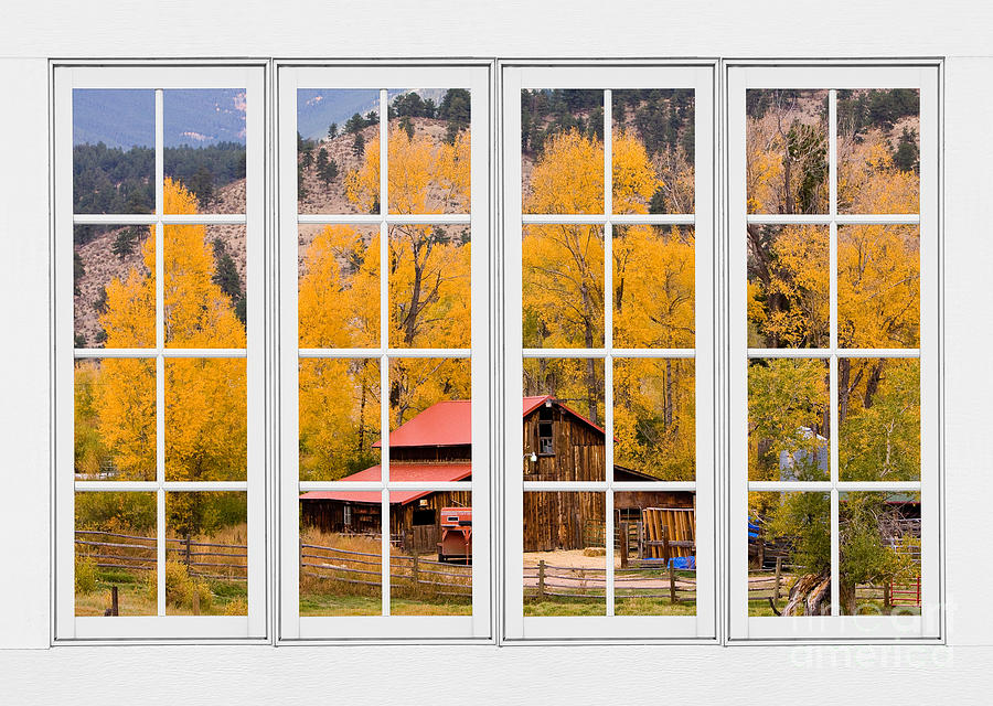 Rocky Mountain Autumn Ranch White Window View Photograph