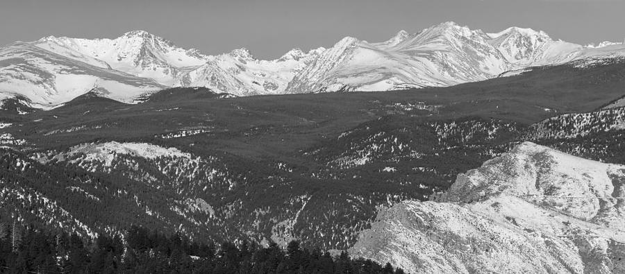 Rocky Mountain Continental Divide Winter Panorama Black White Photograph