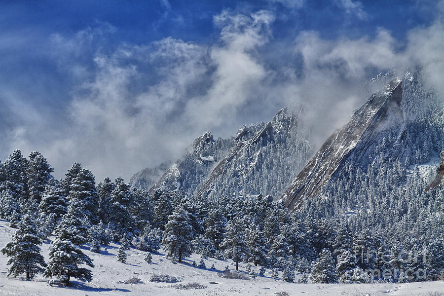 Flatirons Photograph - Rocky Mountain Dusting Of Snow Boulder Colorado by James BO  Insogna