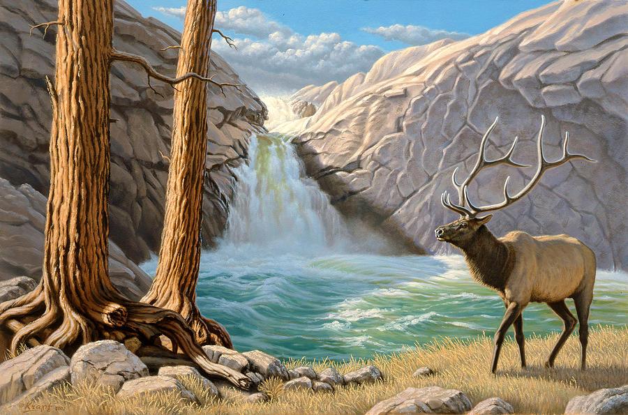 Landscape Painting - Rocky Mountain Elk by Paul Krapf