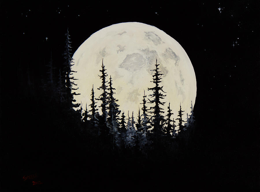Full Moon Painting - Rocky Mountain Moon by C Steele