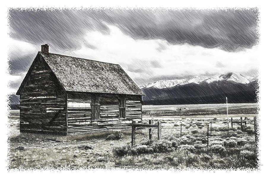 Rockies Drawing - Rocky Mountain Past by John Haldane
