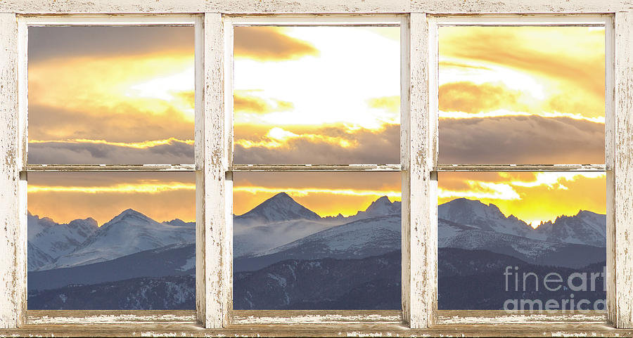 Rocky Mountain Sunset White Rustic Farm House Window View Photograph