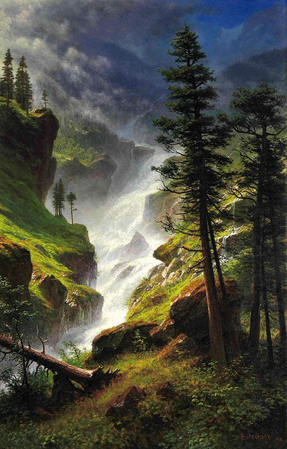 Rocky Mountain Waterfall Painting By Albert Bierstadt