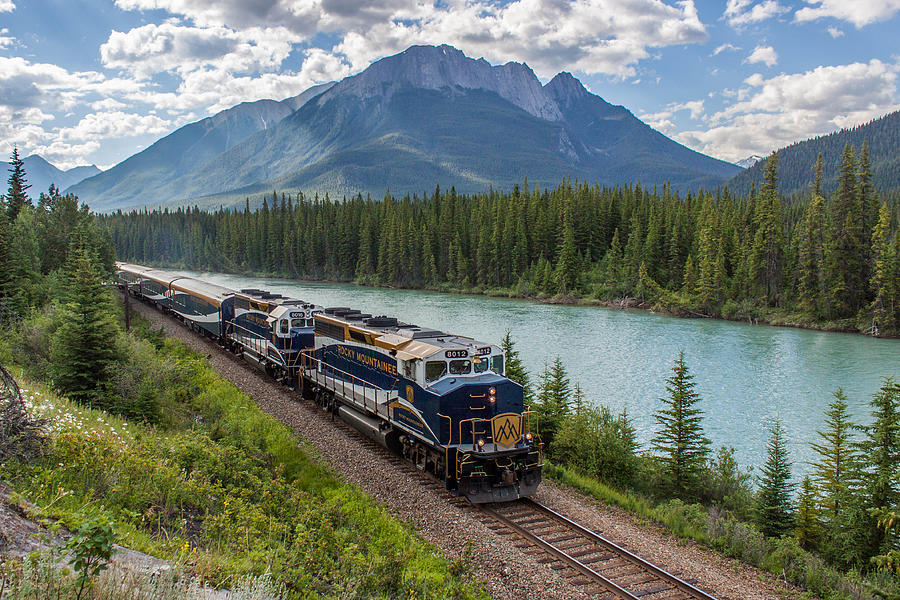 Banff Photograph - Rocky Mountaineer at Muleshoe on the Bow River by Steve Boyko