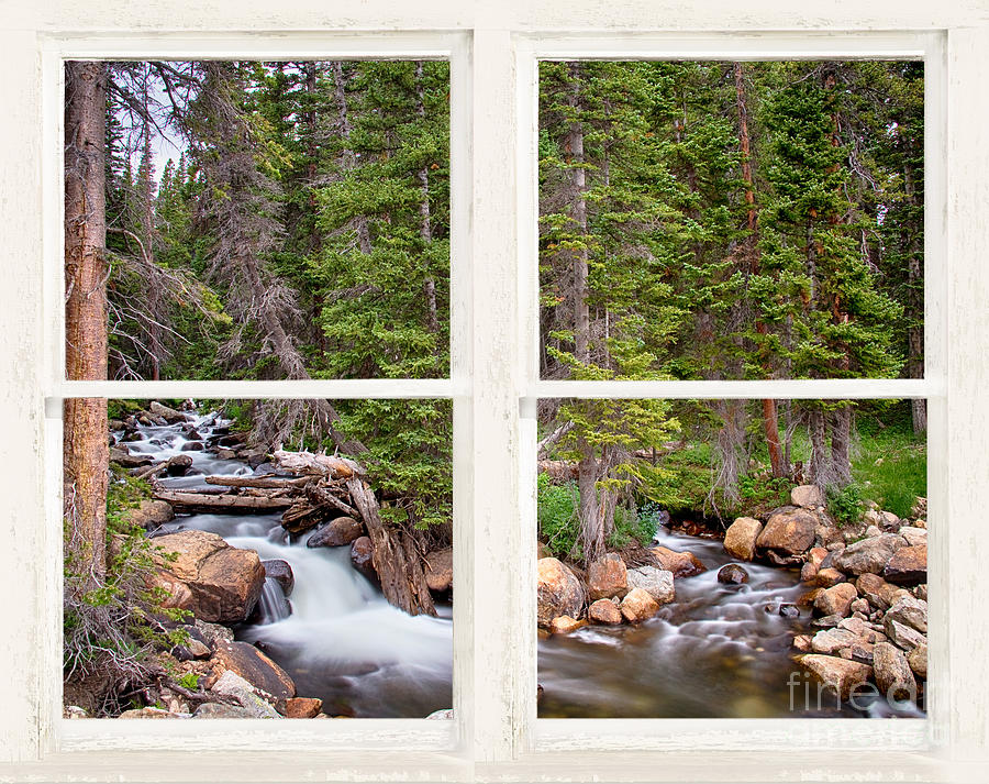 Rocky Mountains Forest Stream Rustic White Washed Window by James BO Insogna