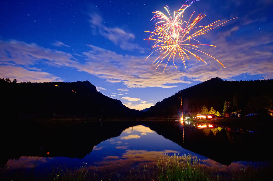 Rocky Mountains Private Fireworks Show Photograph by James ...