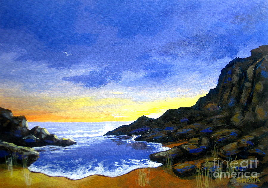 Serenity Scenes Landscapes Painting - Rocky  Point  by Shasta Eone