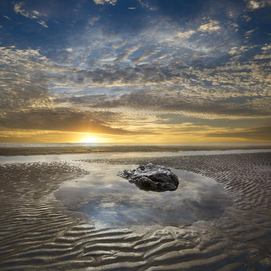 Clouds Photograph - Rocky Pool At Dawn by Debra and Dave Vanderlaan