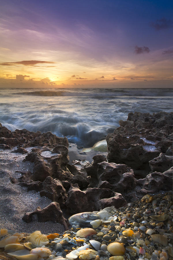 Clouds Photograph - Rocky Shore by Debra and Dave Vanderlaan