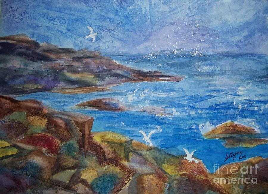 Rocky Shores Of Maine Painting By Ellen Levinson