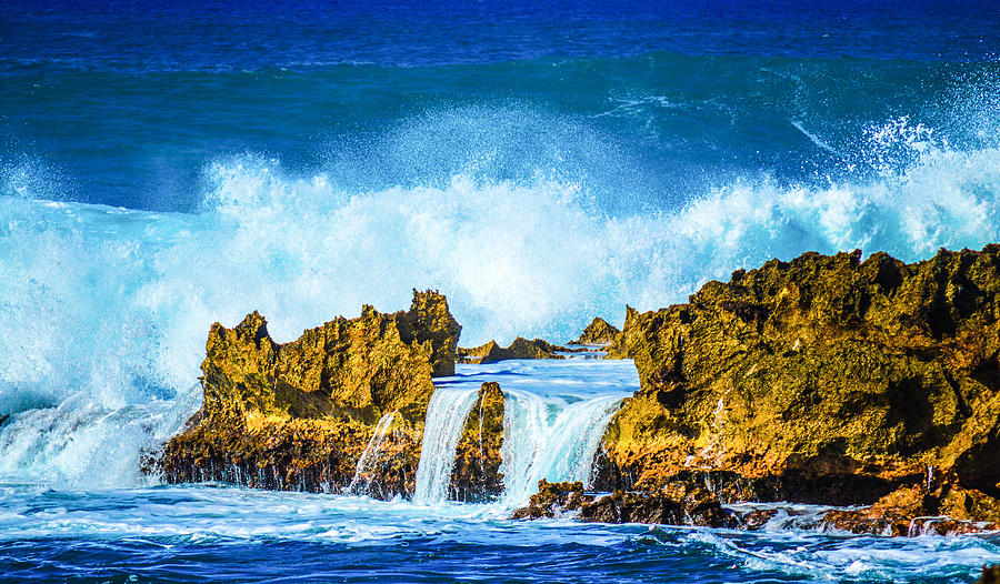 Land And Sea Photograph - Rocky Waves North Shore by Lisa Cortez