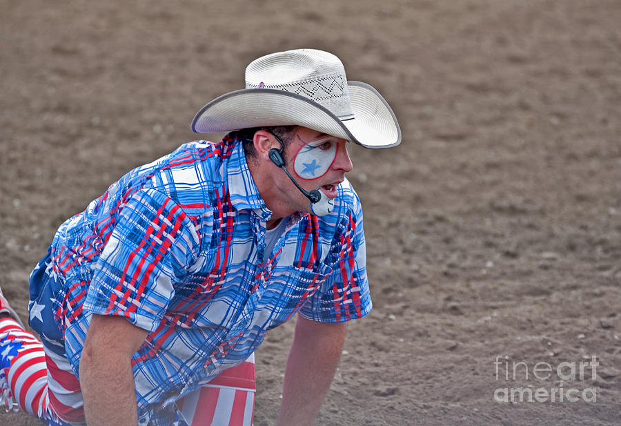 4th Of July Photograph - Rodeo Clown Cowboy In Dust by Valerie Garner