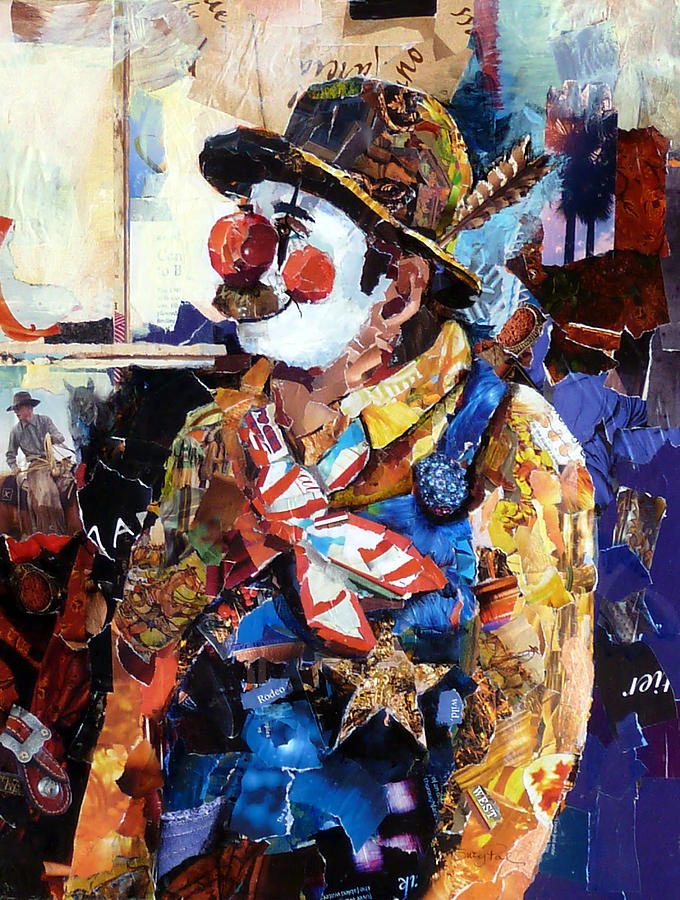 Torn Paper Collage Painting - Rodeo Clown by Suzy Pal Powell