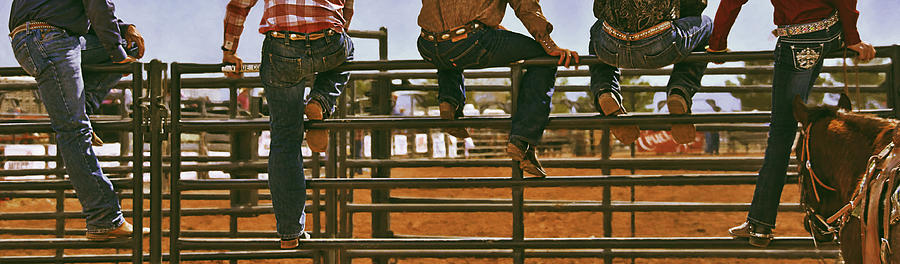 Rodeo Fence Sitters- Warm Toned Photograph