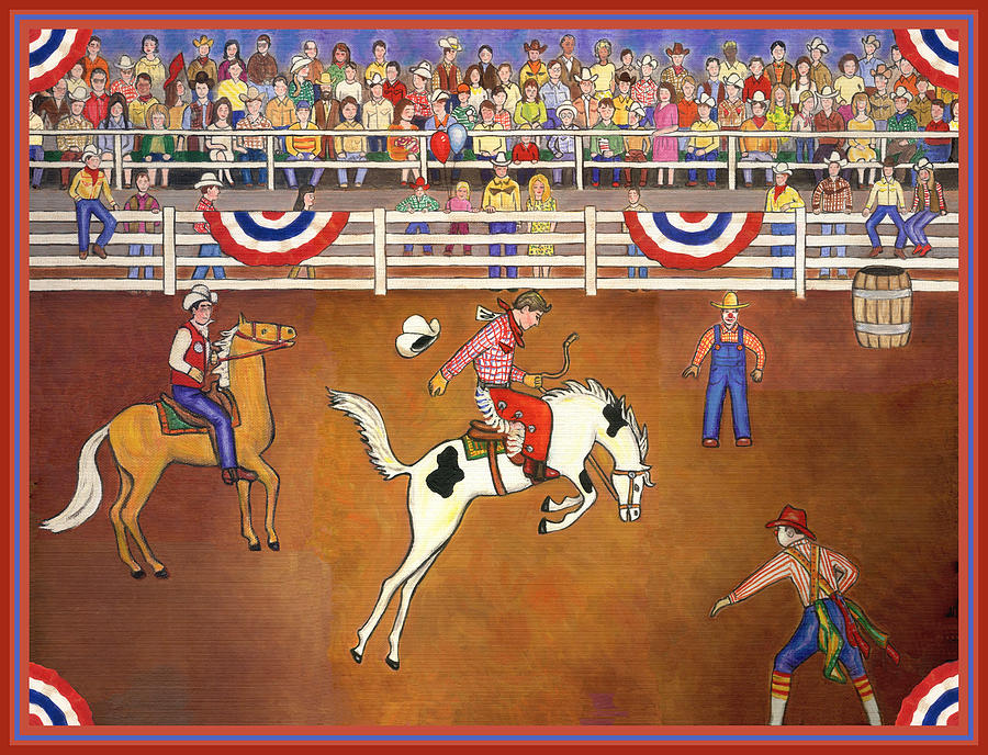 Folk Art Horse Painting - Rodeo One by Linda Mears