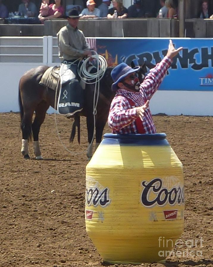 Rodeo Time Clown In Coors Beer Barrel 2 Photograph By
