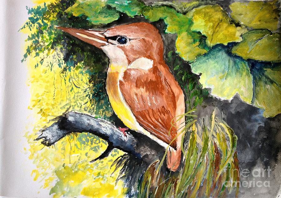 Bird Painting - Rofous - Backed Kingfisher  by Jason Sentuf