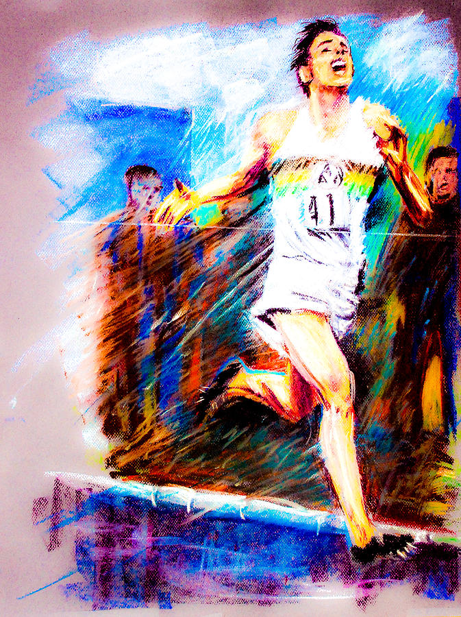 Race Track Wall Art >> Roger Bannister Worlds Record Holder In Mile Run Pastel by Dariusz Janczewski