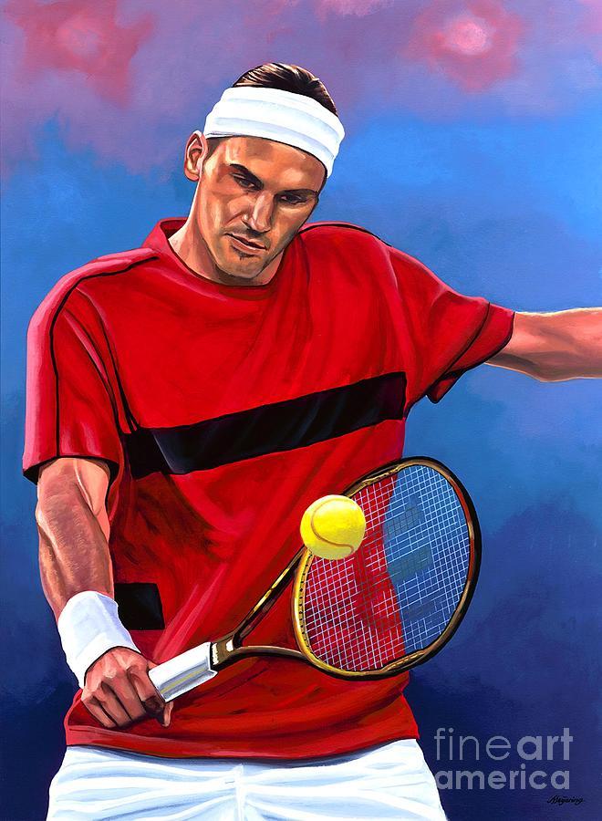 Roger Federer Painting - Roger Federer The Swiss Maestro by Paul Meijering