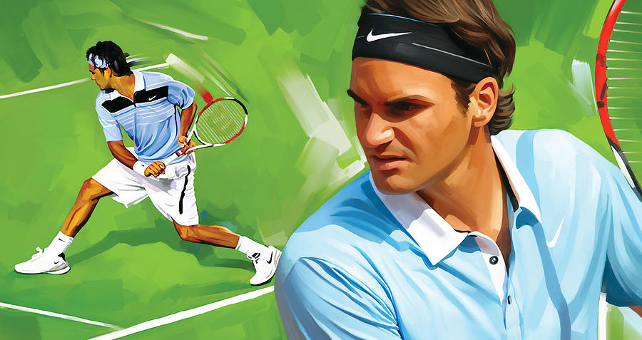 Tennis Posters Painting - Roger Federer Artwork by Sheraz A