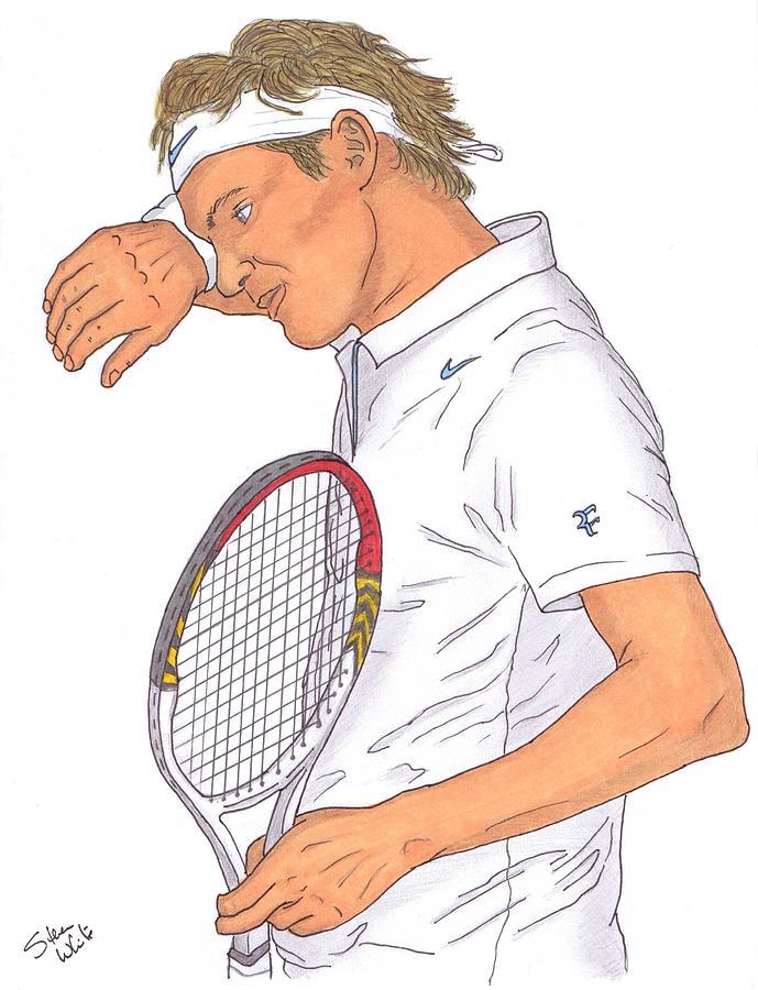 Roger Federer Drawing - Roger Federer by Steven White