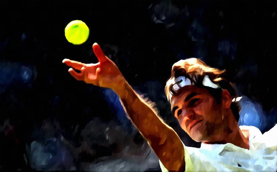 Natch Painting - Roger Federer Tennis 1 by Lanjee Chee