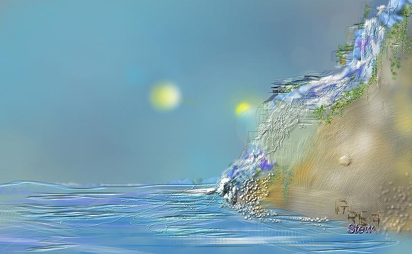 R Digital Art - Roll Down Water Roll by Greg Stew