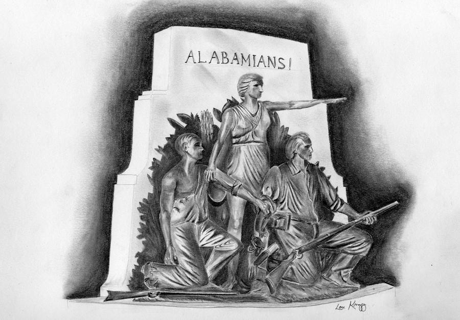 Alabama Drawing - Roll Tide Alabama Monument At Gettysburg by Lou Knapp